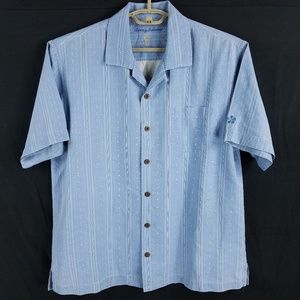 Tommy Bahama Silk Blue Striped Hawaiian Camp Shirt